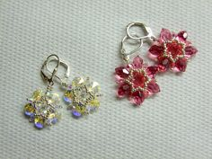 Starflower earrings with Swarovski drops and bicones. -   http://caori-creative-factory.blogspot.hu/