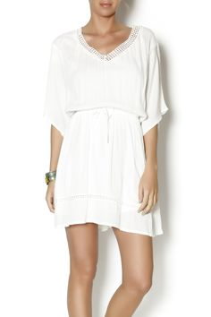 Ivory wide sleeve v neck dress with embroidered detail around neckline. Great paired with sandals for a casual boho chic look.   Hartigan Dress by Jack. Clothing - Dresses - Casual Clothing - Dresses - Mini Asheville, North Carolina