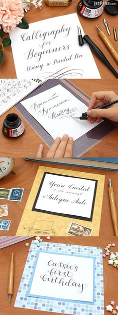 Calligraphy for Beginners: Using a Pointed Pen Basic Calligraphy, Calligraphy Supplies, Calligraphy For Beginners, Beautiful Calligraphy, Japanese Stationery, Beautiful Handwriting, Jet Pens, Pen And Paper, Writing Instruments