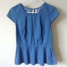 Blue/Polka Dot Peplum Blue peplum with white polka dots and long white zipper in the back. Great condition. Tops