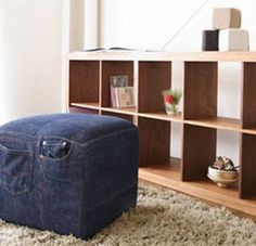Recycled Jeans As Furniture: Japanese Sofa Maker Turns Old Denim Pants Into… Denim Furniture, Funky Furniture, Furniture Ideas, Japanese Sofa, Denim Sofa, Denim Rug, Denim Ideas, Denim Crafts, Upcycled Crafts