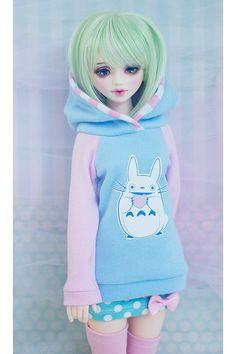 BJD Hoodie - Slim MSD - Unoa - Minifee - Bluefairy Tiny Fairy - Kid Delf - Heart Totoro