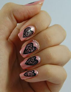 Vicky Loves Nails: Rose Hearts with Avon - Rose Quartz