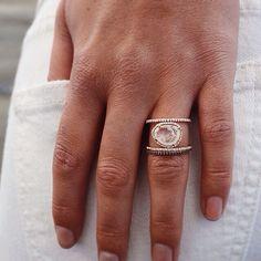 Extra dreamy set // Luna Skye double band moonstone and new black diamond ballerina ring Www.lskyejewelry.com