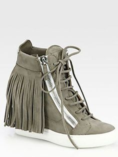 12 Wedge Sneakers for Spring -- Giuseppe Zanotti Suede Fringe Wedge Sneakers, $875