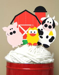 Suppliesssss Farm Animal Friends - Cake Topper or Specialty Table Centerpiece via Etsy