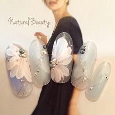 ネイル 画像 Natural Beauty 赤坂 1469449 青 アンティーク チーク フラワー ブライダル パーティー デート オールシーズン ソフトジェル ハンド ミディアム