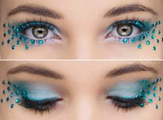 Blue smokey with rhinestones makeup look
