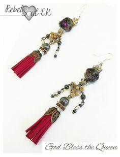 Long tassel earrings, skull and crown, Pirate Queen jewelry, scull mexican Beaded Earrings, Sugar scull earrings, Dia de los Muertos