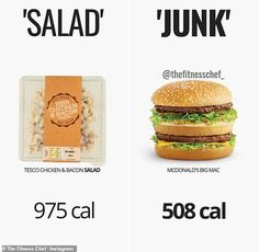 Fitness chef reveals how diet foods have more calories than the original | Daily Mail Online Bacon Salad, Bacon Pasta, Food Calorie Chart, Healthy Eating, Clean Eating, Healthy Food, Big Mac, Tasty Bites, Mindful Eating