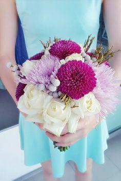 Chrysanthemum, roses, silver brunia hand bouquet