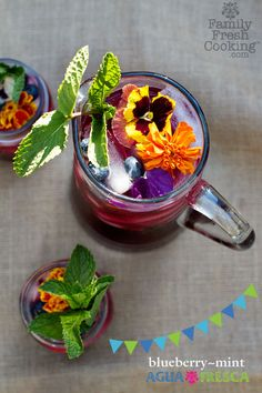 Blueberry Mint Agua Fresca Recipe | Healthy Fruit Punch on FamilyFreshCooking.com © MarlaMeridith.com