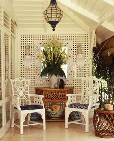 """... Dining Chairs"""" - Vintage rattan """"Mandalay Demi-Lune Consul"""