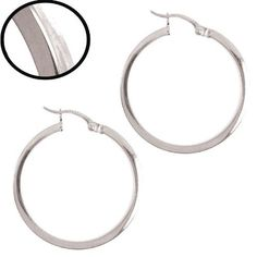 14k White Gold, Plain Round Hollow 2mm Square Tube Circular Hoop Earring 25mm Inside Diameter Snap Down Clasp GiveMeGold. $305.98. Genuine 14k gold. NOT filled or plated.. A gift box is included with purchase.. Modern square hollow tube construction is stylish and timeless.. Simple in design, it goes well with any attire or occasion from casual to dressy.. No fuss and easy to use clasp makes it simple to wear.