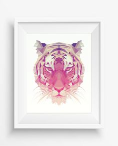 Tiger Print,Polygonal Tiger,Geometric Tiger Head Art Wall Print,Tiger Art, Low Poly,Geometric Animal Prints, Tiger Head