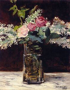 Vase of White Lilacs and Roses By Manet, Eduard-oil painting, art gallery
