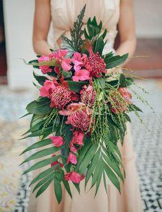 Tropical, Caribbean, Hawaiian, Destination, Wedding, Theme, Ideas, Examples, Inspiration, Aisle, Venue, Ceremony, Palm Trees, Palm Leaves, Flowers, Floral, Modern, Wedding Bouquet, Wedding Dress, Bride