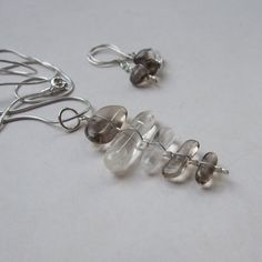 Quartz Smoky Quartz  necklace & earrings by NaturesArtMelbourne, $74.00