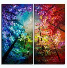 Peinture de paysage forêt couleurs skyline n Art noir sur papier Galerie toile prêt à accrocher par tim Lam 48 x 48