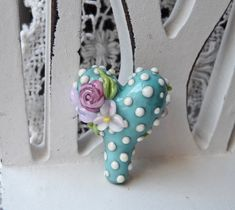 MADE to ORDER Sweet Heart Focal in Sweet Turquoise by Sabrina