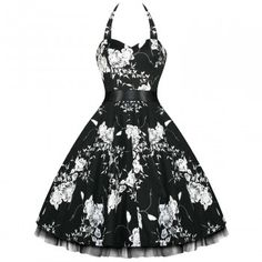 Hearts & Roses Floral Halter Womens Dress | Blossom Costumes