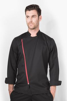 Long sleeve with turn back cuffs, sleeve pocket. Staff Uniforms, Uniform Design, Casual Shirts For Men, Chef Jackets, Bomber Jacket, Aprons, Stylish, Coat, Long Sleeve