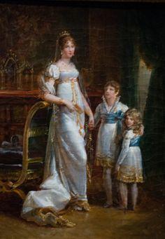 Josephine Bonaparte with her two children:   a son, Eugène de Beauharnais (1781–1824), and a daughter, Hortense de Beauharnais (1783–1837).