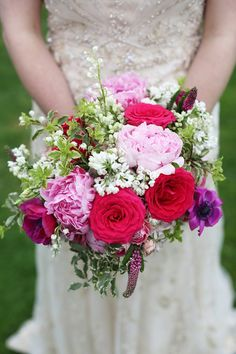 Peony Rose Bouquet Bride Bridal Flowers Colourful Home Made Spring Wedding http://www.jadelisaphotography.com/