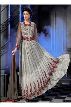 Hamim  grey colour designer party wear Anarkali suit-4003