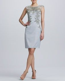S Wong-Beaded Embroidered Cocktail Dress