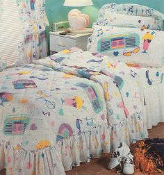 This was definitely my room growing up! Aqua walls and all! lol