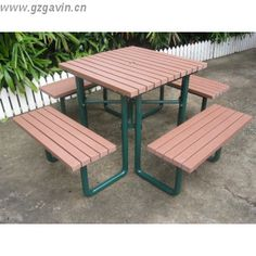 reycled plastic wood outdoor picnic table with bench (can be with umbrella)