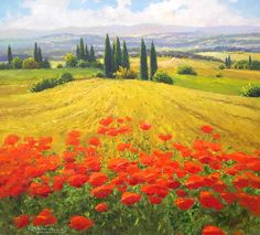 Gerhard Nesvadba  - Wheatfield and Poppies