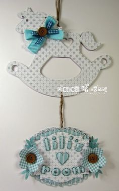 LOTV - Door Hanger with Up Up and Away and Pastel Dreams paper pads and Stitched Alphabet stamps by Donna Mosley