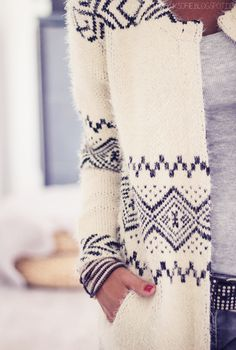 Cozy navy and white sweater