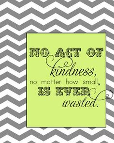 no act of kindness, no matter how small,is ever wasted.