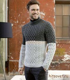 Мужской свитер спицами схемы