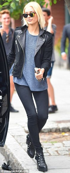 Outfit swap: Hailey was later seen in a charcoal grey shirt instead of her black lace blouse