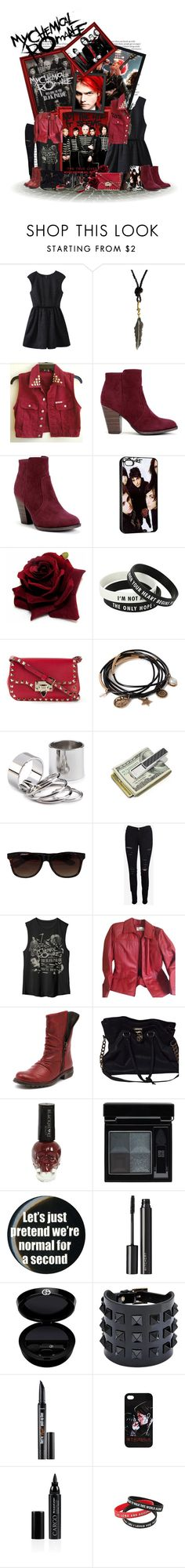 """""""My Chemical Romance I"""" by broken-killjoy ❤ liked on Polyvore featuring ASOS, GUESS, Valentino, Forever 21, M-Clip, Vans, Frame Denim, Worthington, Eos and Michael Kors"""