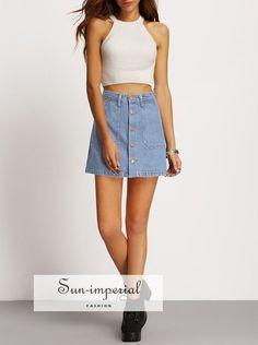 Faded Wash Slant Pocket Button Down Denim Skirt Button Down Denim Skirt, Demin Skirt, Skirt Outfits Modest, Midi Skirt Outfit, Denim Dresses, Beard Lover, Female Feet, Running Shoes For Men, Ladies Dress Design