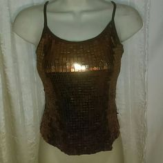 BEBE SEQUINED TOP-SIZE M-CUTE!!! -Bebe Sequined Top -Size Medium -Copper Colored Sequins -Sleeveless -SUPER CUTE!!! -100% Polyester Bebe Tops