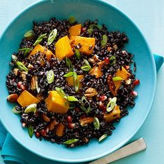 How about this for a dish of bold colours! Black Rice Salad with Butternut Squash and Pomegranate Seeds, looks delicious! #hypertension