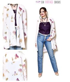 Floral jacket women made in USA jacket 80s clothing vintage blazer womens clothing sexy clothing boho hippie flower pattern long sleeve L by SixVintageChicks on Etsy