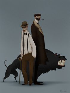 So something like 3 years ago I started working on my personal take on The Hound of the Baskervilles and I intended to make the whole visual development for that story to populate my portfolio with it. Well, that never really happened… I couldn't find a style and direction that I would like enough to commit to for the whole project. Actually the only thing I got from it was a huge artist's block But here are some designs of Sherlock, Watson and the Hound that I did last year (Watson's is…