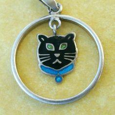 RARE Antique Edwardian English Enamel Charles Horner Lucky Black Cat Charm