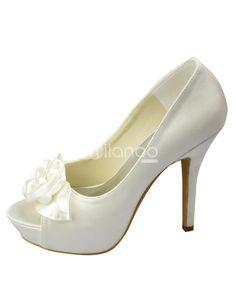 Ivory Platform Peep Toe Flower Satin Bridal Wedding Shoes. See More Bridal Shoes at http://www.ourgreatshop.com/Bridal-Shoes-C919.aspx