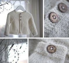 Drømmejakke. White baby kids cardigan with wood buttons