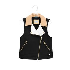 Cotton vest with colour block lapels