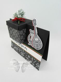 My favorite products in the Holiday Catalog are the music-themed ones: the Musical Season Stamp Set, the Musical Instruments Framelits Dies, and the Merry Music Gift Box Design, Gift Card Boxes, Creative Box, Handmade Card Making, Fancy Fold Cards, Card Box Wedding, Pop Up Cards, Paper Gifts, Craft Gifts