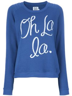 Royal Blue And White Long Sleeved Oh La La Sweater